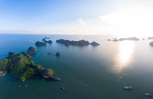 Aerial view of ha long bay cat ba island, unique limestone rock islands