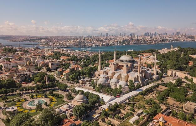 Aerial view of hagia sophia in istanbul