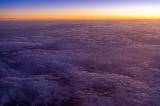 Aerial view of high altitude clouds during sunset