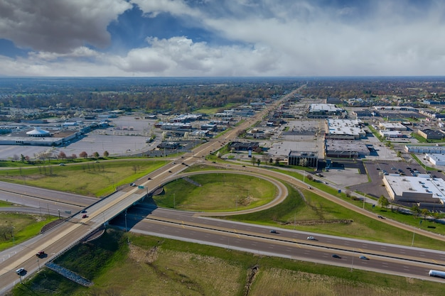 Aerial view of highway interchange freeway interchange with traffic on a bridge and streets roads and lanes crossroads cars near fairview heights illinois usa