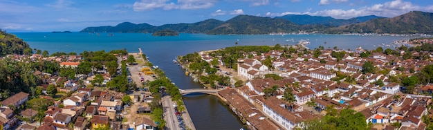 Aerial view of the historic center and the anchorage of the city of paraty, rio de janeiro, brazil