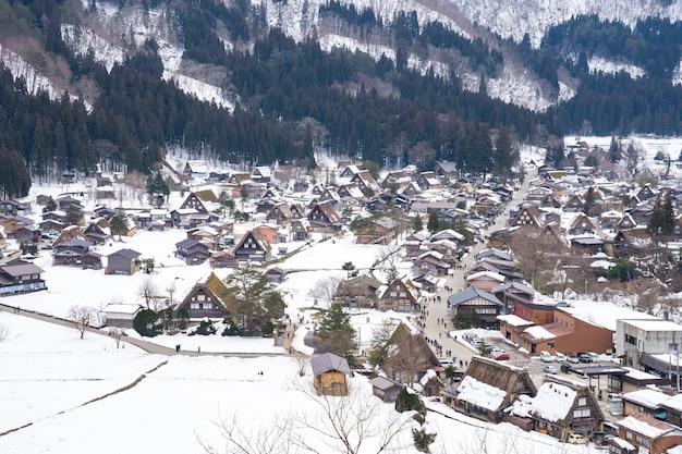 Aerial view of historic villages shirakawago in gifu, japan