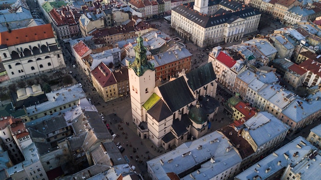 Aerial view of the historical center of lviv, ukraine.