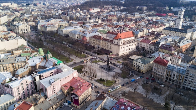 Aerial view of the historical center of lviv, ukraine.