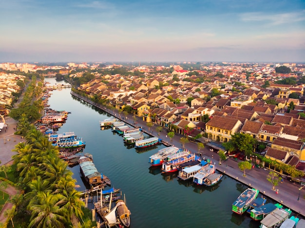 Aerial view of hoi an ancient town in vietnam
