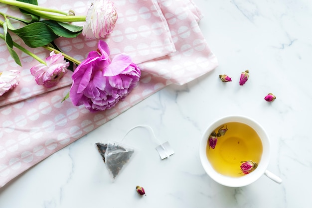 Aerial view of hot rose tea drink