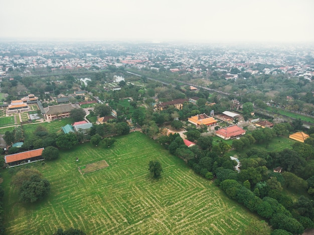 Aerial view of the hue citadel in vietnam. imperial palace moat,emperor palace complex, hue province, vietnam.