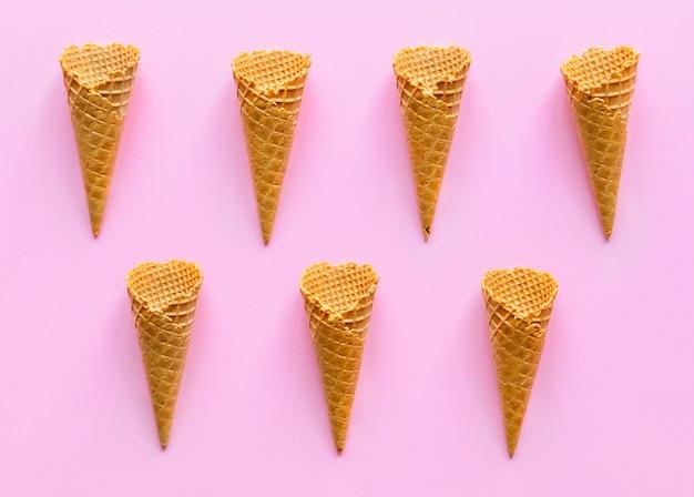 Aerial view of ice cream waffle cones