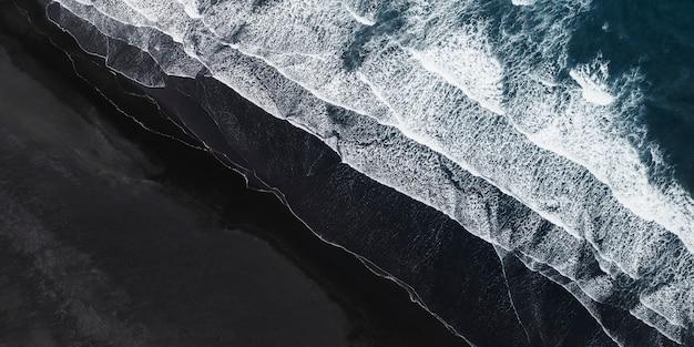 Aerial view of icelandic black sand beach