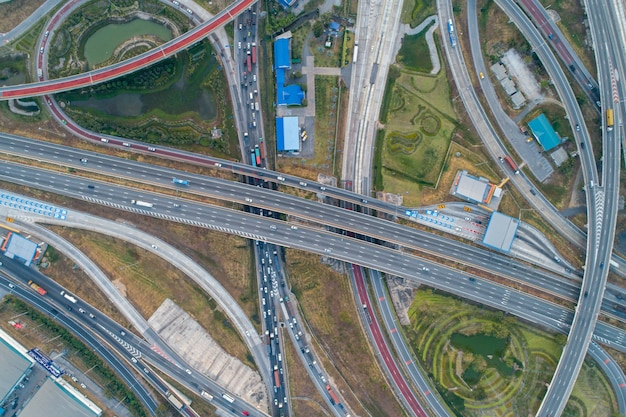 Aerial view interchange express way and a trafific jam