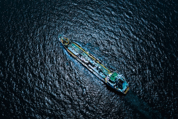 Aerial view international oil and gas with petroleum transportation vessels delivery business services ocean fright