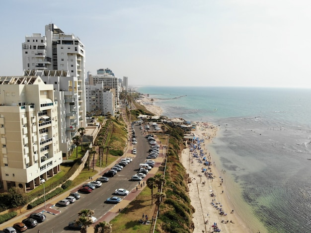 Aerial view in israel. tel aviv, bat yam area. middle east, holyland.
