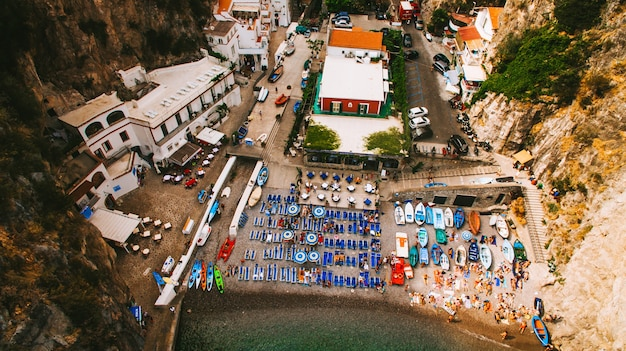 Aerial view of italian holiday island capri with beautiful nature