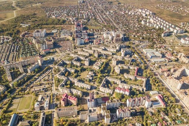 Aerial view of ivano-frankivsk city, ukraine.