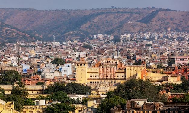 Aerial view of jaipur town and hawa mahal palace