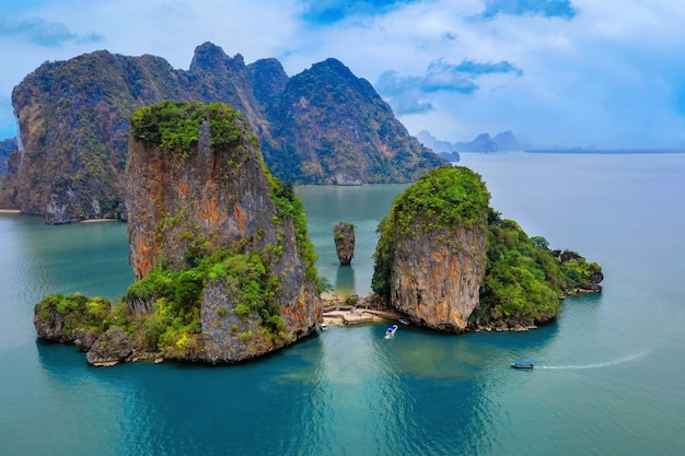 Aerial view of james bond island in phang nga, thailand.