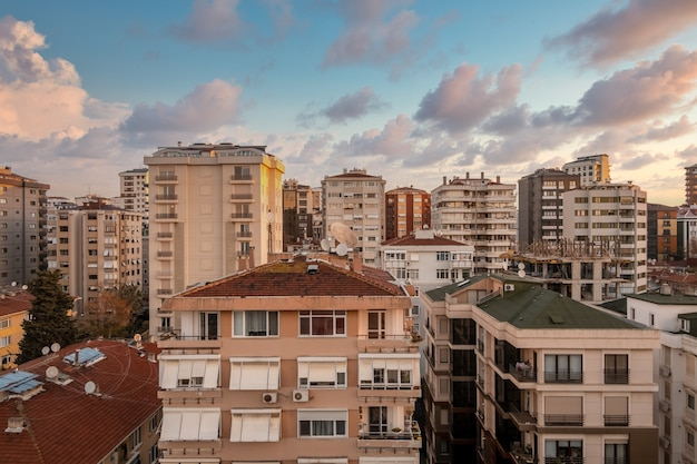 Aerial view of kadikoy district of istanbul city with beautiful sunset clouds view