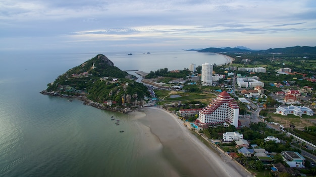 Aerial view of khao takieb huahin prachuap khiri khan southern of thailand