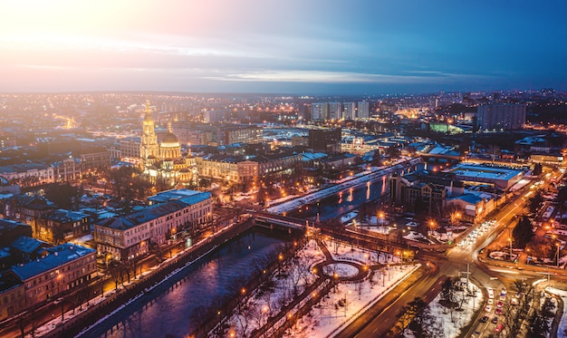Aerial view of kharkiv city in evening illumination