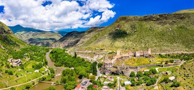 Aerial view of khertvisi fortress in meskheti, georgia