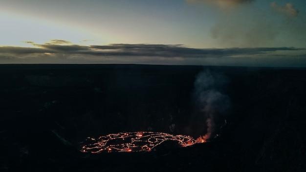 Aerial view kilauea volcano in hawaii volcanoes national park on the big island.