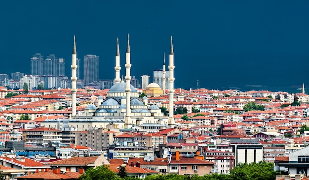 Aerial view of kocatepe mosque in ankara, the capital of turkey