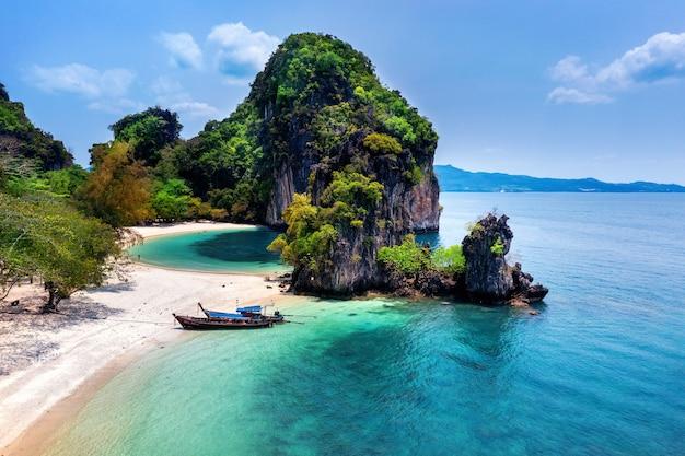 Aerial view of koh hong island in krabi, thailand.