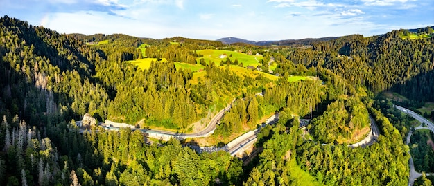 Aerial view of kreuzfelsenkurve, a hairpin turn in the black forest mountains, germany