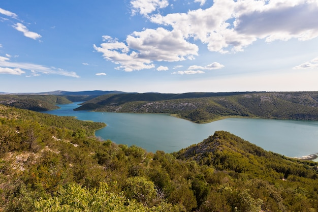 Aerial view of the krka river in the krka national park, croatia