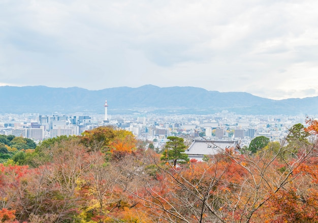 Aerial view of kyoto city from kiyomizu-dera
