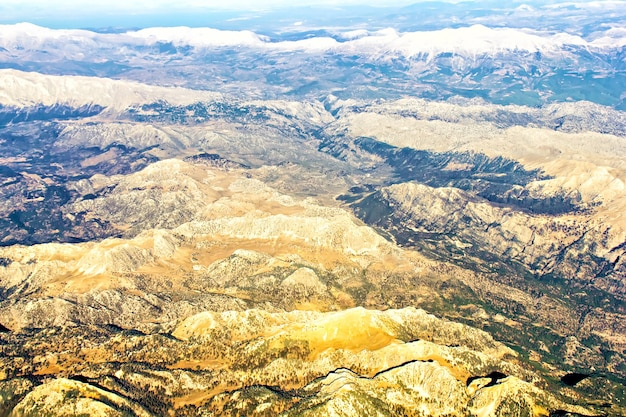 Aerial view of the land and mountains in turkey