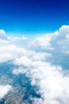 Aerial view landscape of bangkok city in thailand with cloud