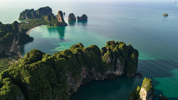 Aerial view landscape of mountain and beach or seaside in krabi thailand