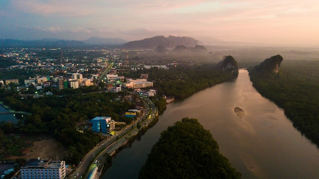 Aerial view landscape of mountain in twilight time,  krabi thailand