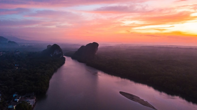 Aerial view landscape of  mountain in twilight  time ,  krabi thailand