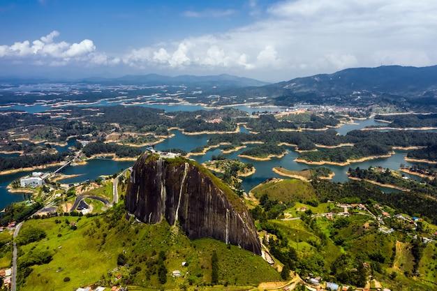 Aerial view landscape of the rock of guatape, piedra del penol, colombia.