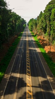 Aerial view landscape of tree or forest and road, krabi thailand - image