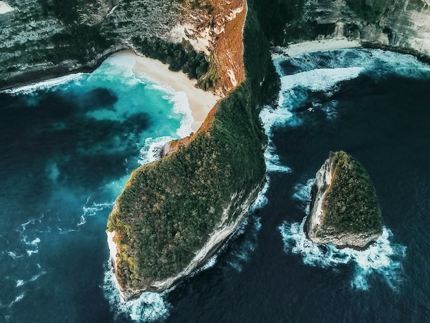 Aerial view of landscape with kelingking beach, nusa penida island bali, indonesia