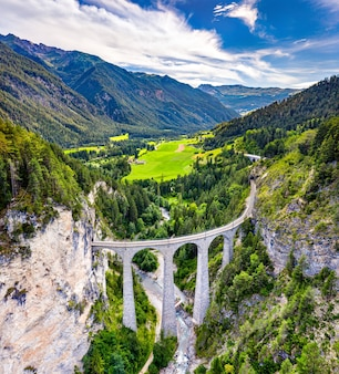 Aerial view of the landwasser viaduct in the swiss alps