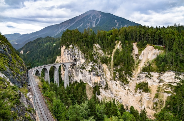 Aerial view of landwasser viaduct in switzerland