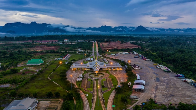 Aerial view laos immigration, thailand laos border inspection, thakhek, khammouane, laos.