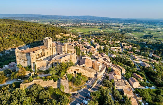 Aerial view of le barroux village with its castle - provence, france