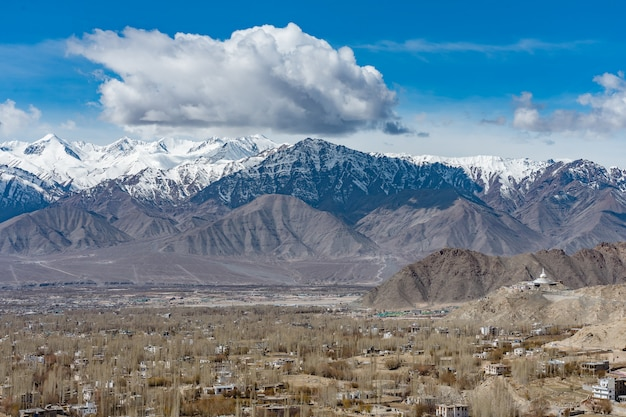 Aerial view of leh ladakh city of kashmir in india