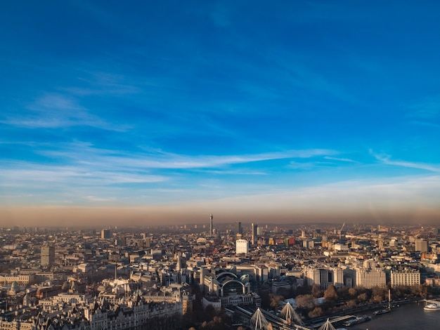 Aerial view of london town with  blue sky.