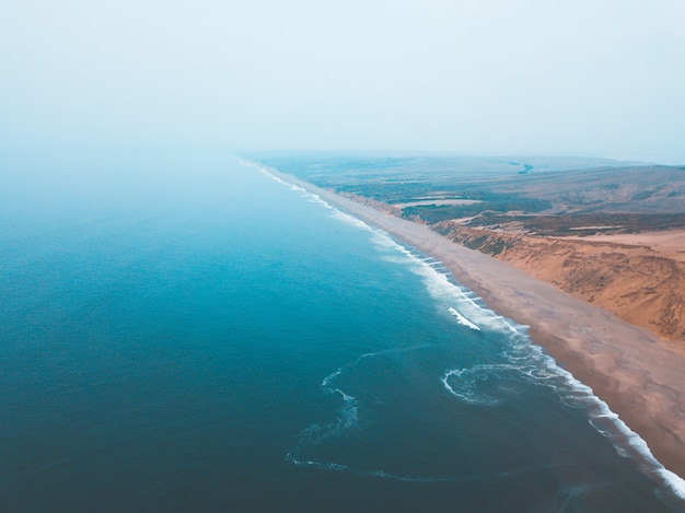 Aerial view of a long coastline of the famous point reyes national park in california