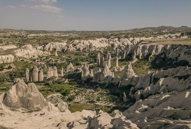 Aerial view of love valley in cappadocia