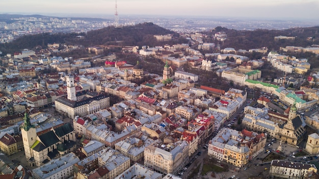 Aerial view of lviv city historical center. lviv city center in western ukraine from above