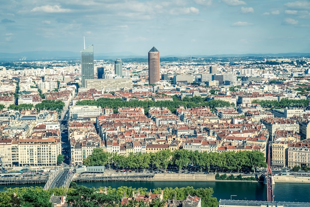 Aerial view of lyon france, europe.