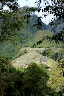 Aerial view of machu picchu citadel view from huayna picchu mountain, machu picchu, cusco, urubamba, peru.