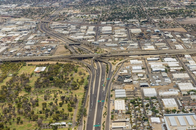 Aerial view of a major freeway interchange in the heart of phoenix arizona us